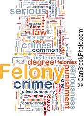 felony background concept wordcloud