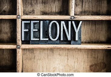 Felony Concept Metal Letterpress Word in Drawer - The word...
