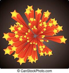 felrobbanás, csillaggal díszít