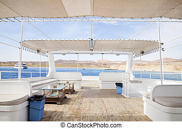 felső, fedélzet, közül, recreational csónakázik