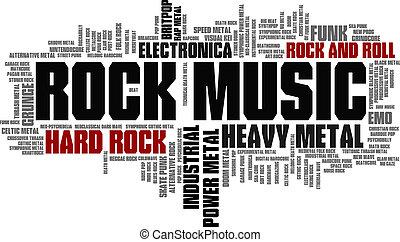felsen- musik, stile, wort, wolke, blase, etikett, baum,...