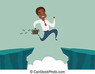 felsformation, überwinden, afrikanisch, schwarz, begriff, amerikanische , lücke, geschäftsmann, geschaeftswelt, difficulty., springen, aus