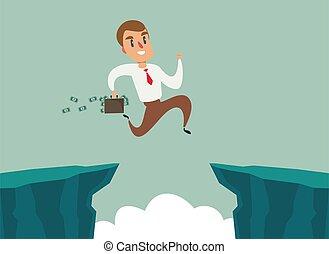 felsformation, überwinden, begriff, lücke, geschäftsmann, geschaeftswelt, difficulty., springen, aus