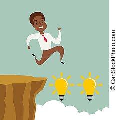 felsformation, schwierigkeit, überwinden, afrikanisch, schwarz, begriff, rennender , amerikanische , lücke, geschaeftswelt, erfolg, geschäftsmann, springen, aus