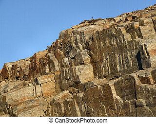 felsig, landschaftsbild, -, bloß, steinmauer