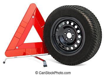 felszólít triangulum, és, autó tol, noha, tél, tire., 3, vakolás