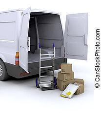 felszabadítás, dobozok, furgon
