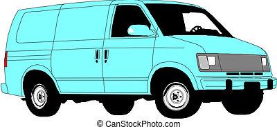 felszabadítás, háttér., fehér, furgon