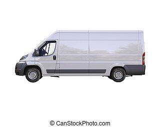 felszabadítás, kereskedelmi, fehér, furgon