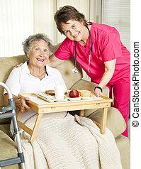 felszabadítás, otthon, idősebb ember, étkezés