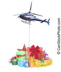 felszabadítás, tehetség, fogalom, karácsony, helikopter