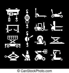 felszerelés, állhatatos, emelés, ikonok