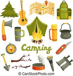 felszerelés, állhatatos, idegenforgalom, kempingezés