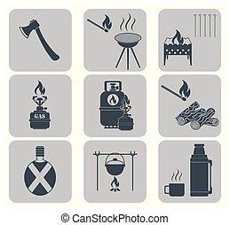 felszerelés, állhatatos, kempingezés, pictograms