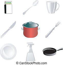 felszerelés, állhatatos, konyha