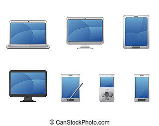 felszerelés, elektronika, számítógépek