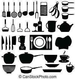 felszerelés, eszközök, konyha
