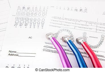felszerelés, fogászati szerszám, diagram