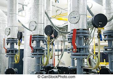 felszerelés, gáz, kazánház