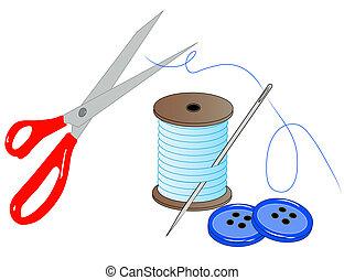 felszerelés, gombok, befűz, tű, olló, -, vektor, varrás