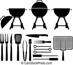 felszerelés, grillsütő, -, pictogram