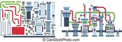 felszerelés, gyár, ipari, kézbesítő, machine., szerkezet, fantasztikus, öv
