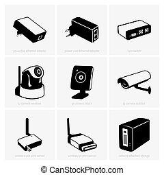 felszerelés, hálózat
