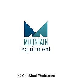 felszerelés, hegy, embléma, kreatív