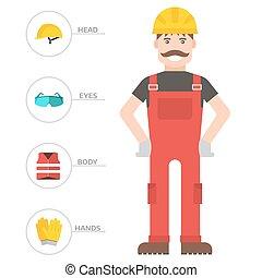 felszerelés, konstruál, munkás, vektor, oltalom, test, gyár, ember, bekapcsol, ipari, lakás, ábra, clothing., eszközök, biztonság