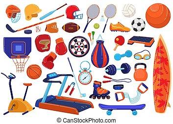 felszerelés, labdarúgás, gyűjtés, futball, ikon, lakás, játék, állhatatos, karikatúra, ábra, sport, labda, sportember, baseball, teniszütő, vektor