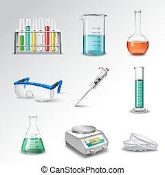 felszerelés, laboratórium, ikonok
