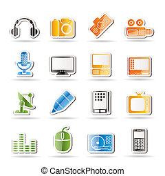 felszerelés, média, ikonok