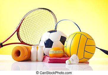 felszerelés, pihenés, szabad, sport