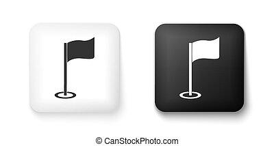felszerelés, vagy, lobogó, elszigetelt, accessory., fekete, golf, fehér, ikon, derékszögben, button., háttér., vektor