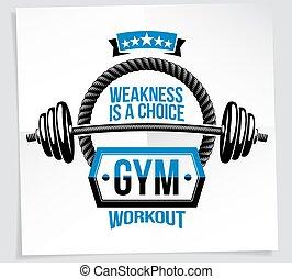 felszerelés, vektor, testépítés, gyengeség, higgadt, ki kézi súlyzó, sport, más, poszter, quote., válogatott, grafikus, elements., motiváció