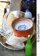 felszerelési tárgyak, pálma, bor