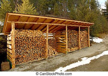 felszerelő, elhullat, erdő, szabadban