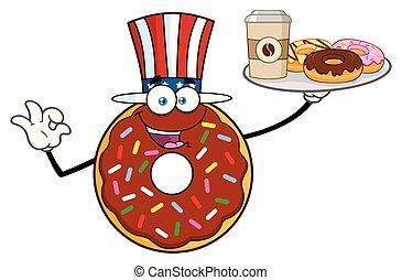 felszolgálás, földimogyorók, betű, csokoládé, fánk, amerikai, karikatúra, kabala
