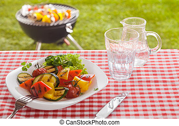 felszolgálás, közül, sült, növényi, képben látható, egy, nyár, piknik