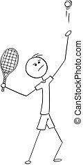 felszolgálás, szolgáltatás, teniszjátékos, vektor, hím, karikatúra