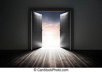 feltár, gyönyörű, nyílás, ajtók, ég