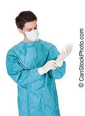 feltétel, sebész, pár kesztyű, sebészeti