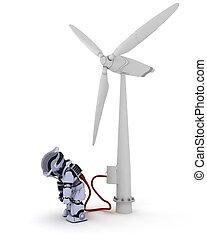 feltöltő, turbina, robot, felteker