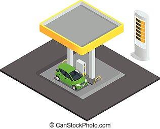 feltölt, kicsi, lakás, gáz, feltöltő, isometric, fogalom, ...