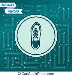 feltűnik, különböző, cipő, board., alacsony, azt, nyílvesszö, ikon, vektor, zöld, elektronikus, directions., háttér