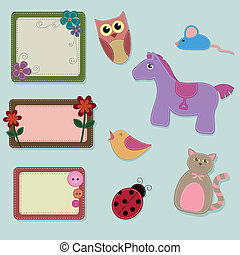 collection of felt animals and decorated frames