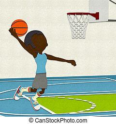Felt Basketball Player Dunking On C