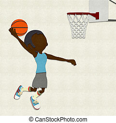 Felt Basketball Player Dunking