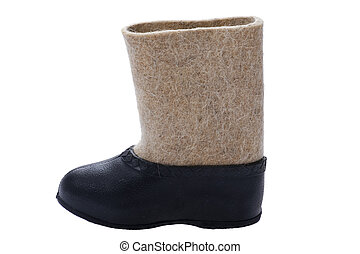 Felt boots on white