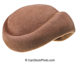 felt brown bonnet isolated on white background
